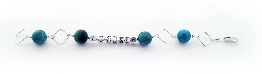 I  HEART CHEER Bracelet - sterling silver and tourquoise