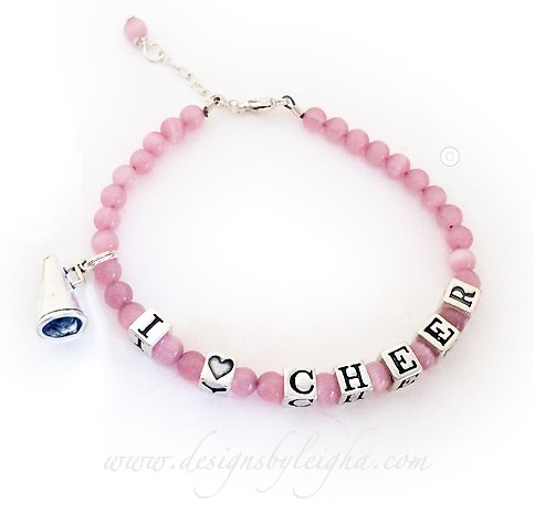 I Heart Cheer Bracelet With A Megaphone Charm