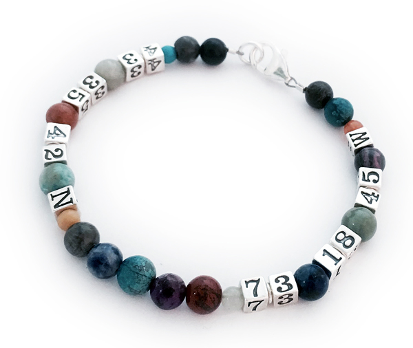 6mm Real Gemstone Coordinates Bracelet with 4.5mm Numbers