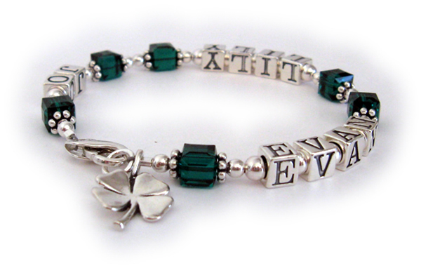 Shamrock bracelet with grandkids names