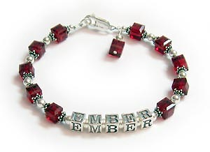 Birthstone Crystal Bracelet with childs name
