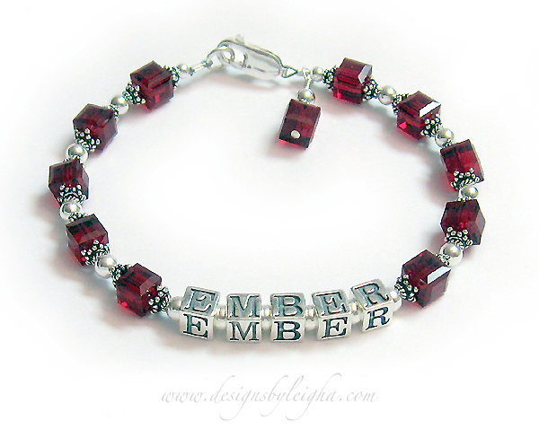 July Birthstone Crystal Bracelet with EMBER and a Birthstone Crystal Dangle - DBL-C2