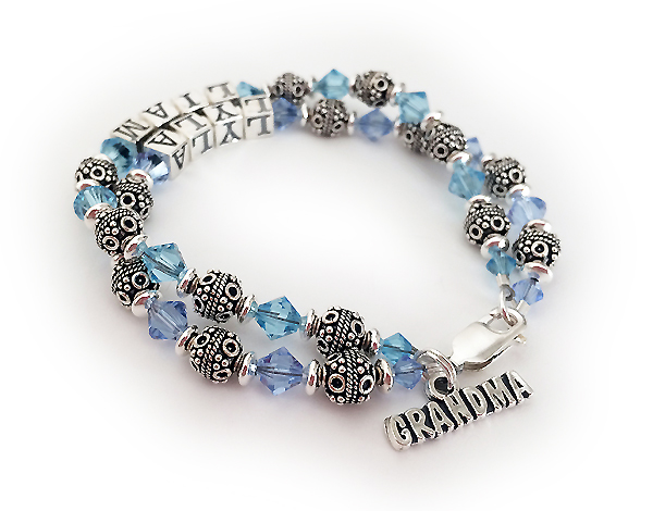 Lyla and Liam Birthstone Bracelet with a GRANDMA Charm