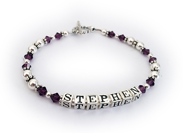 Stephen Mothers Bracelet with Amethyst Birthstone Crystals
