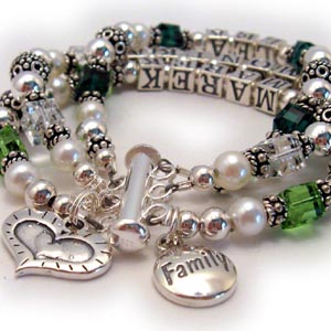 Family Name Bracelet with 3 Names & Family Charm