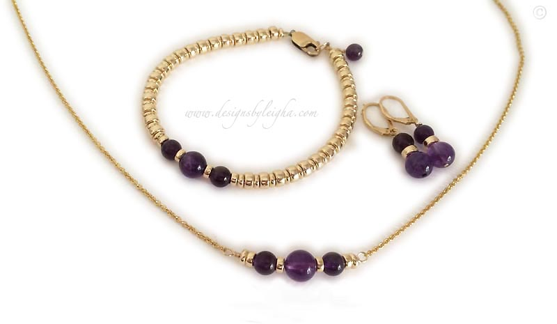 Gold February Birthstone Bracelet with beatuiful purple Amethyst round beads. Necklace, Bracelet, Earrings and Ankelets available.