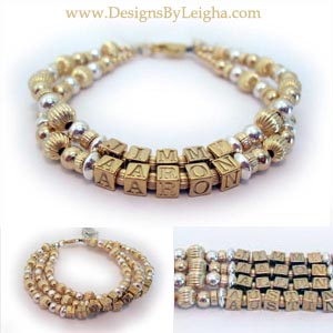 Gold Mother Bracelet with Gold Block Letters shown with Kids Initials