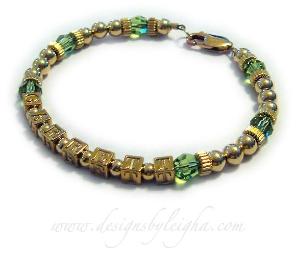 Gold Mothers Bracelet Mommy with August Birthstone Crystals