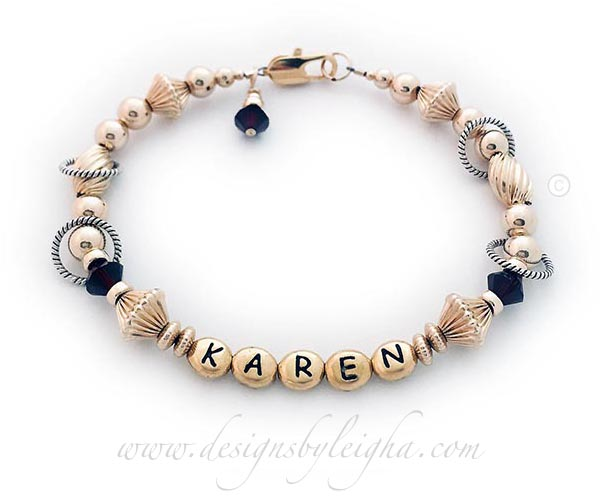 Gold Letter Block Bracelet with KAREN - DBL-GG10