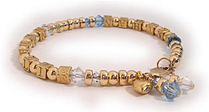 Gold Alphabet Block Letters in the Gold Mothes Bracelet Collections