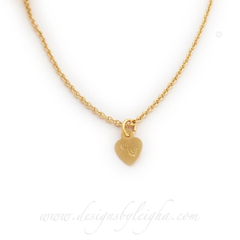 Gold Heart Necklace with Initials