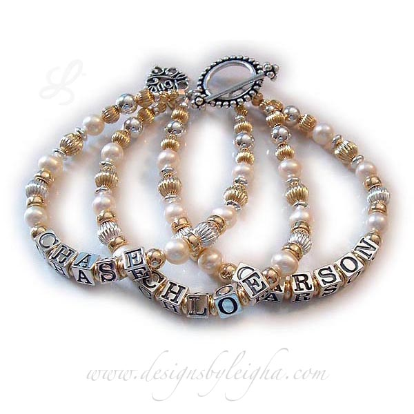 DBL-G9 - 3 string bracelet with 3 kids' names Enter: CHASE, CARSON, CHLOE They picked the 3-string bracelet option for CHASE, CARSON and CHLOE and they added 2 things to their Pearl, Bali and Gold Mother Bracelet: a Beaded Toggle Clasp and a LOVE Filigree Charm.