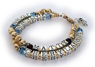 2 string gold mothers bracelet with 4 kids names