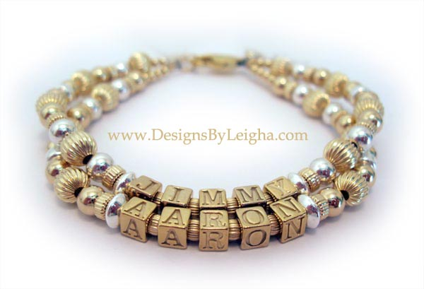 Jimmy Aaron & Allen Mother Bracelet with Gold Block Letters