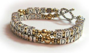 Mother Bracelet With 2 Childrens Name Up To 8 Names Or Sets Of