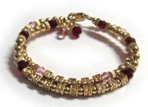 Gold Alphabet Block Letter Bracelet With Birthstone Crystals 198