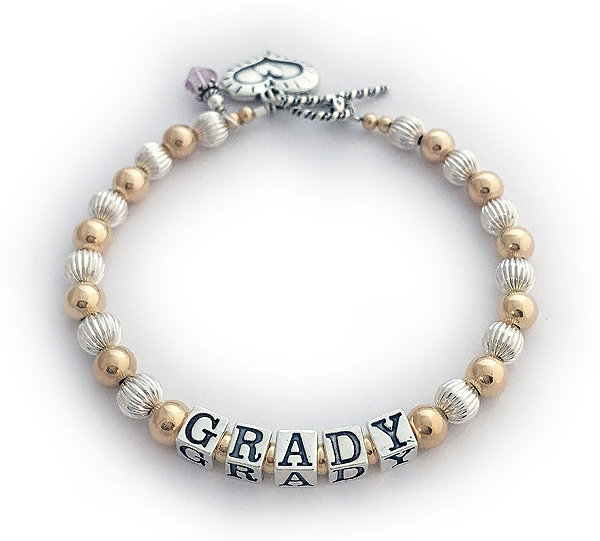 Grady Mother Bracelet with Gold Beads