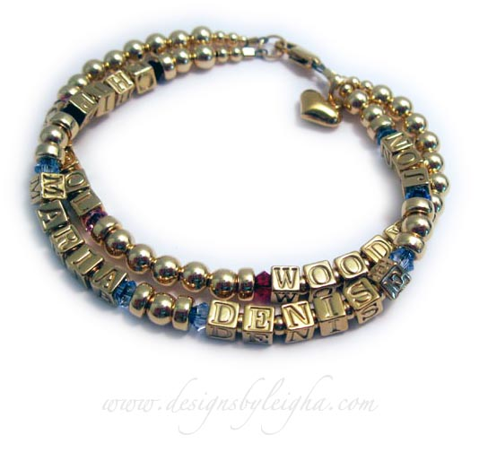 Gold Grandma Birthstone Bracelet with 6 names (instead of a grandma ring)