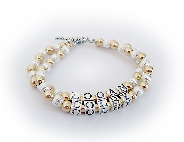 Gold mother Bracelet  - Logan and Colby