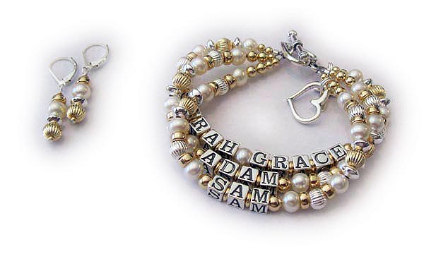 DBL-G9 - 3 string bracelet with 4 names shown with earrings  Enter: SARAH GRACE, ADAM, SAM They added 3 things onto their Pearl & Gold Mother Name Bracelet... an Open Heart Charm, Heart Toggle Clasp and Earrings.
