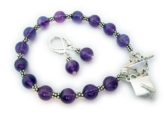 This Amethyst Graduation bracelet is shown with a Graduation Cap Charm and earrings