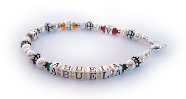 Abuela Bracelet with grandkids initials and birthstone crystals
