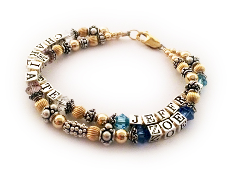 2 string with 4 names grandma bracelet with birthstone crystals - Charlotte/Apr, Jeffrey/Mar, Mia/Jun, Zoe/Sep