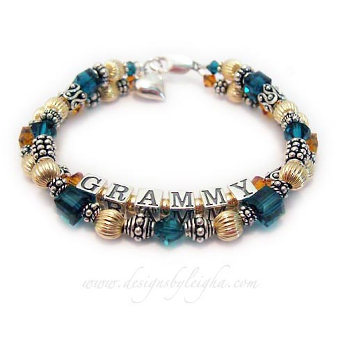 GRAMMY Birthstone Bracelet - Topaz and Emerald Shown. They added a Puffed Heart Charm.