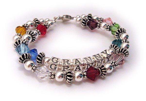 Grandma Bracelets on Grandma Multi Color  Swarovski  Birthstone Bracelet Dblgma9 1 String