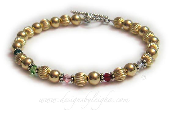 Item: DBL-Grandma-8-1 string bracelet Enter: May Aug Oct Jul Apr This is a 1-string Grandma Gold Birthstone Bracelet with grandma's grandkids' birthstones. They picked one of my free Twisted Toggle clasps.