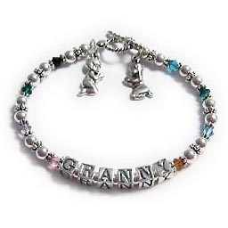 DBL-Grandma1 This is a brithstone crystal bracelet says Granny with her grandkids' birthstones. Enter: Jan May Jun Oct GRANNY Nov Dec MayMar  Charms: Praying Boy & Praying Girl Charms