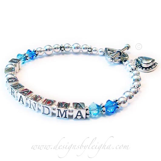 I Heart Granmda Bracelet with Birthstone Crystals and a Beaded Heart Charm