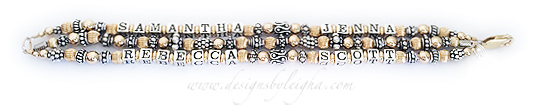 Samantha & Jenna - Blank - Rebecca & Scott - 3 string gold mother bracelet with large beaded heart charm