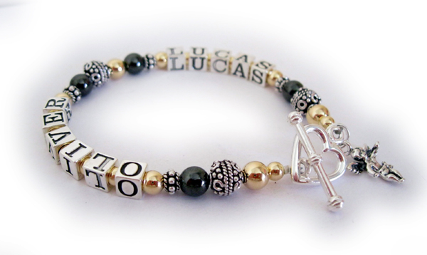 Hematite and GOld Mothers Bracelet with names Lucas and Oliver with a Heart and Angel