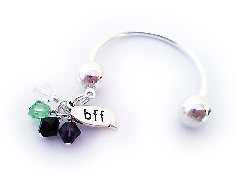 Best Friends Key Chain with BFF charm and birthstone crystal dangle charms. - DBL-Key1bff