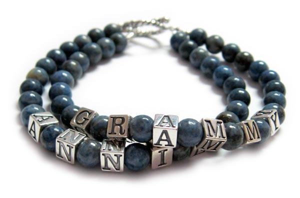 This is a 2-string Lapis Lazuli Name Bracelet with 1 name on 2 seperate strings: GRAMMY ANNIE. They picked one of my free toggle clasps: Twisted Toggle.