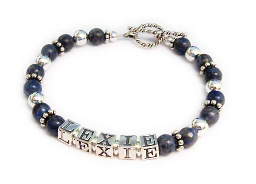 This is a 1-string Lapis Lazuli Mothers Name Bracelet with 1 names: Lexie. They picked one of my free toggle clasps: Twisted Toggle.