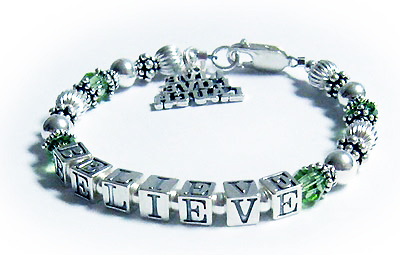 Believe Message Bracelet with a Live Laugh Love Charm and Perdiot Swarovski Crystals