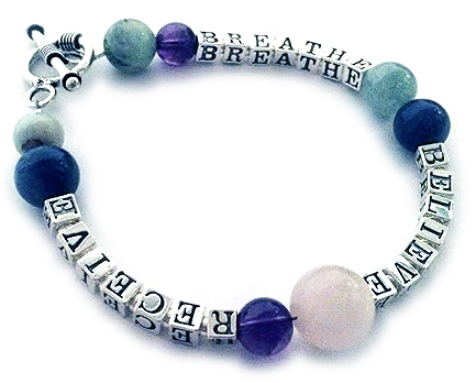 Breathe, Beleive and Recieve or Peace Joy Believe Bracelet