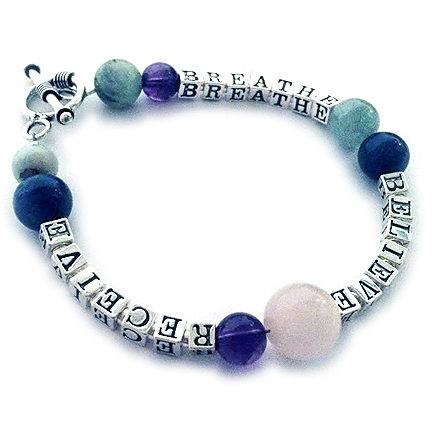 Sterling Silver and Gemstone Breathe Believe and Receive Bracelets
