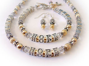 Faith Hope Love Bracelet Necklace & Earrings
