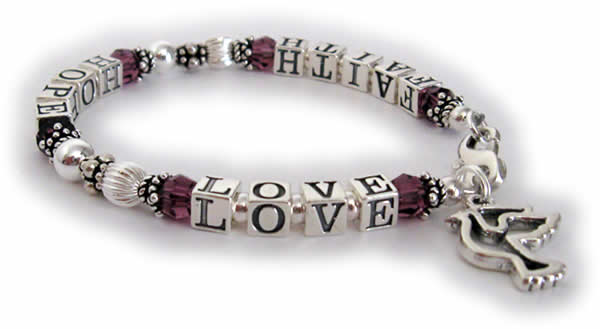 February FAITH HOPE LOVE bracelet with a PEACE DOVE charm