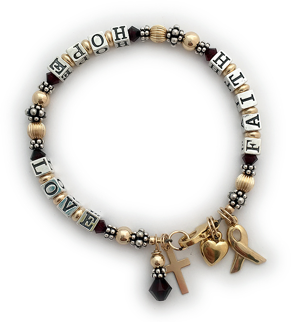 Message Bracelet GOLD FAITH HOPE LOVE (4.5mm blocks)  Shown with clear crystals (January/Red), sterling silver block letters and 4 add-on charms;  puffed heart, gold ribbon, gold cross and Birthstone Crystal Dangle.