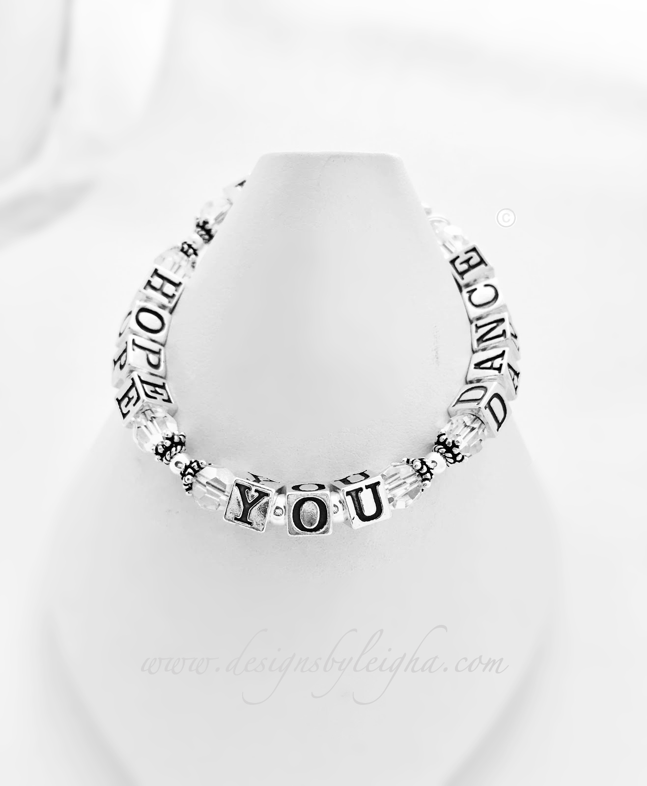 DBL-MB-1S  I HOPE YOU DANCE with April (clear) Birthstone Swarovski crystals.