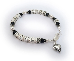 I HOPE YOU DANCE bracelet with a small beaded heart charm