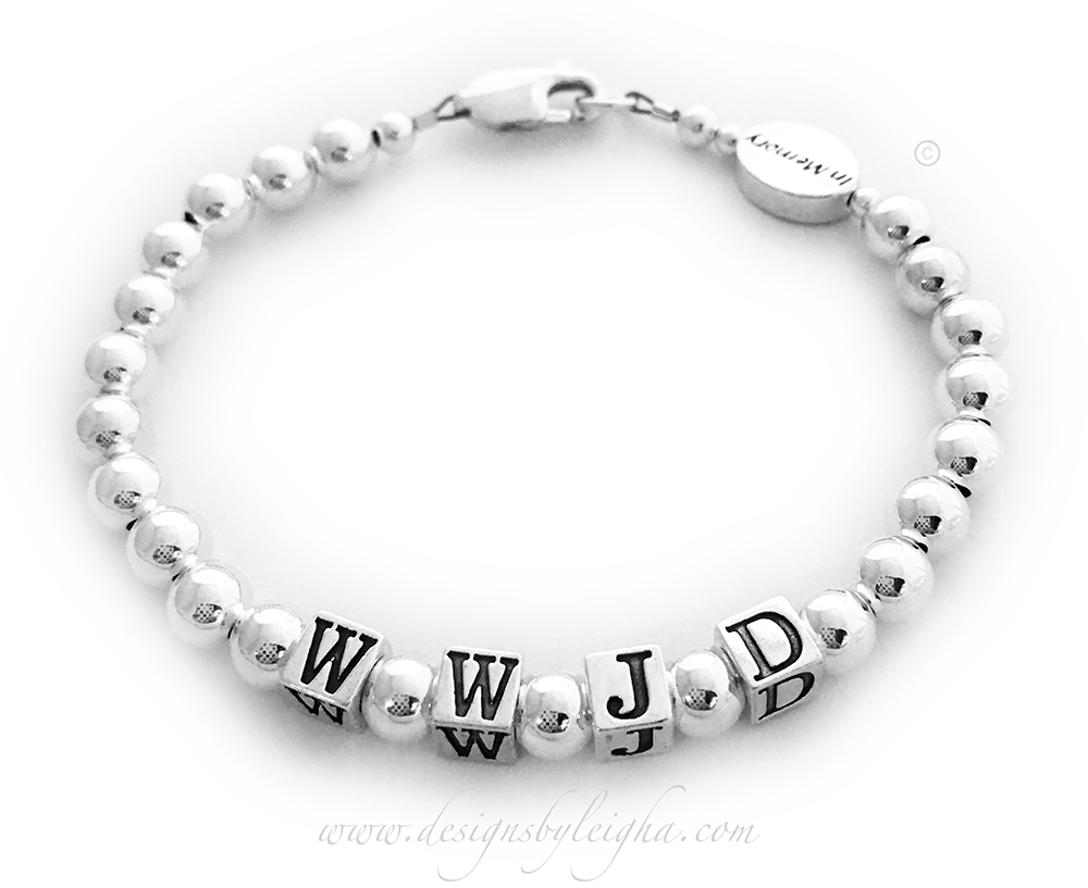 DBL-MB-WWJD-9  Materials: .925 sterling silver This WWJD Bracelet is shown with a lobster extension clasp and they added a Message Bead: In Memory