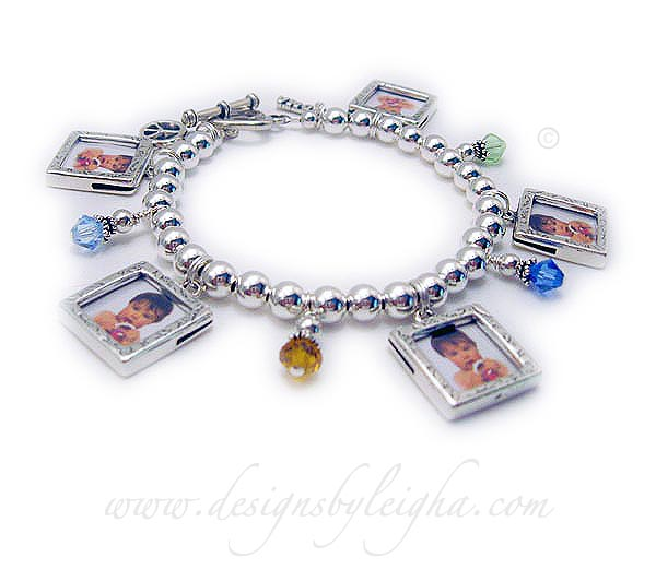 This Bracelet Comes With 5 Square Sterling Silver Picture Frame Charms Included In The Price