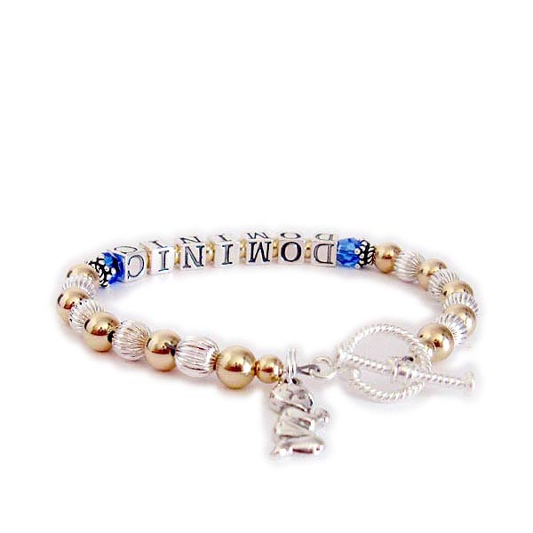 Dominic Mothers Bracelet with Birthstone Crystals and a Praying Boy Charm. DBL-G1