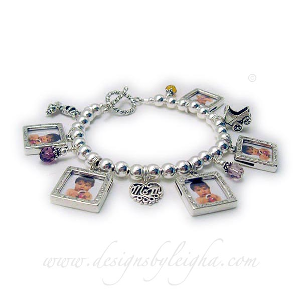Photo Frame Charm Bracelet DBL-CB10-build - Order: 5-Square Picture Frame Charms, 3-Birthstone Crystal Dangles, Girl Booties, Filigree MOM charm, Baby Carriage