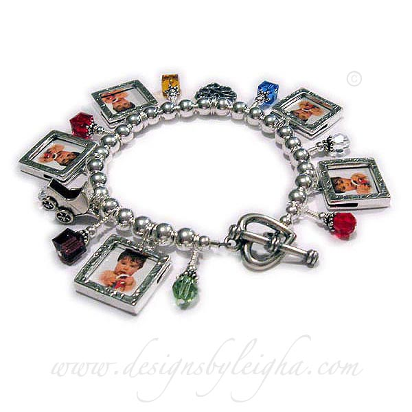 DBL-CB10-build Photo Frame Charm Bracelet  Order: 5-Square Picture Frame Charms, 6-Birthstone Crystal Dangles, Baby Carriage Charm, LOVE Filigree Charm. They upgraded to a Heavy Heart Toggle Clasp.